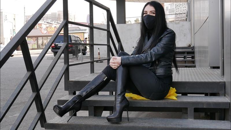 Nana's Gianmarco Lorenzi platform stiletto high heels black leather boots Size EU 37 5