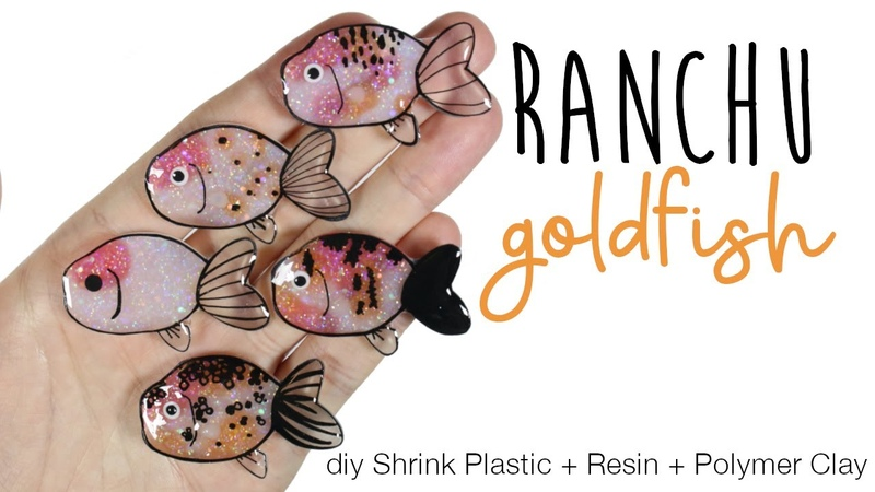 How to DIY Ranchu Goldfish Shrink PlasticUV ResinPolymer Clay Tutorial