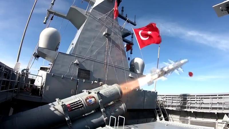 ATMACA'nın TCG KINALIADA korvetinden harp başlıklı ilk atışı