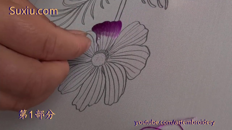 Hand embroidery苏绣(苏州刺绣针法教程) 刺繍 单面绣波斯菊1