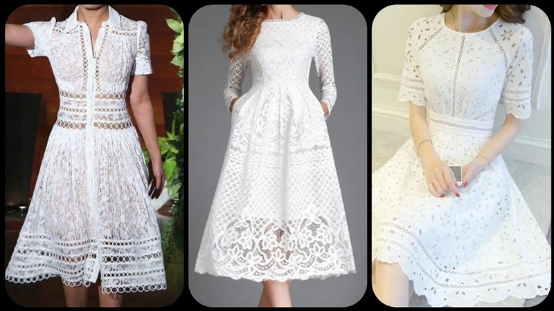Short sleeve hollow mid calf pull over plain dreee white lace embalished A line skater dress