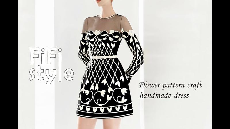 FiFi Style Thiết kế đầm hoa văn tự đính kết,phối lưới xuyên thấu 3D
